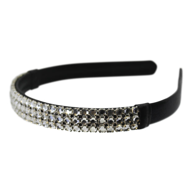black leather and crystal headband by Wardani