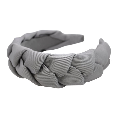 Anna Fashion braid headband grosgrain silver gray