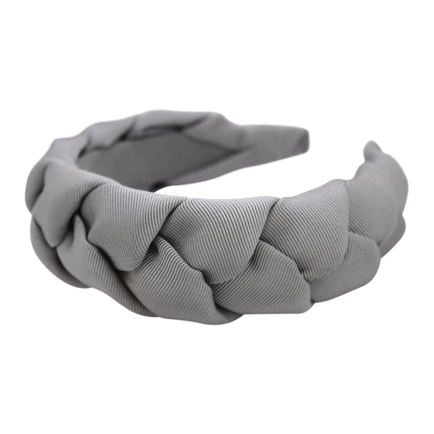 "Anna Fashion grosgrain braid headband 1.5"" silver gray"