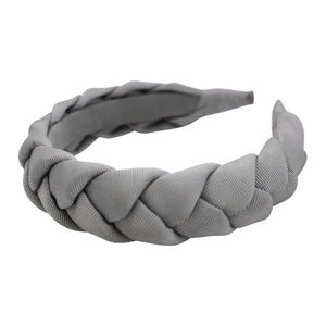 "Anna Fashion grosgrain braid headband 1"" silver gray"