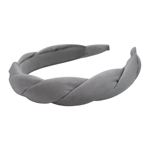 "Anna Fashion grosgrain twist headband 1"" braid in silver gray"