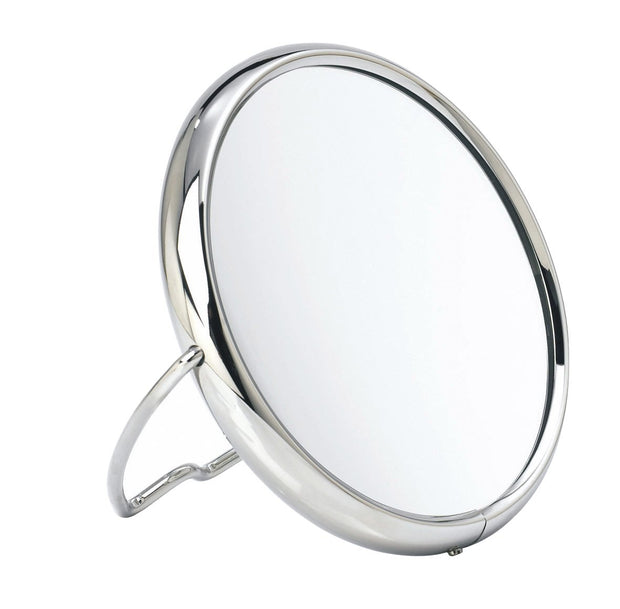"Arpin double sided round travel magnifying mirror in chrome 6"" diameter"