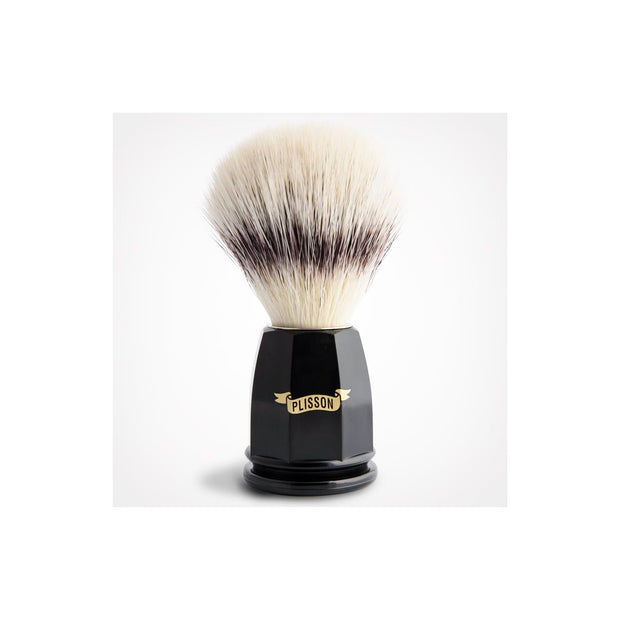Plisson Shaving Brush With Synthetic Fibers and Black Faceted Acetate Handle