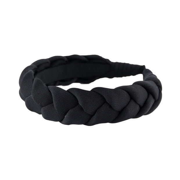 "Braided 1"" wide grosgrain headband in Black by Anna Fashion"