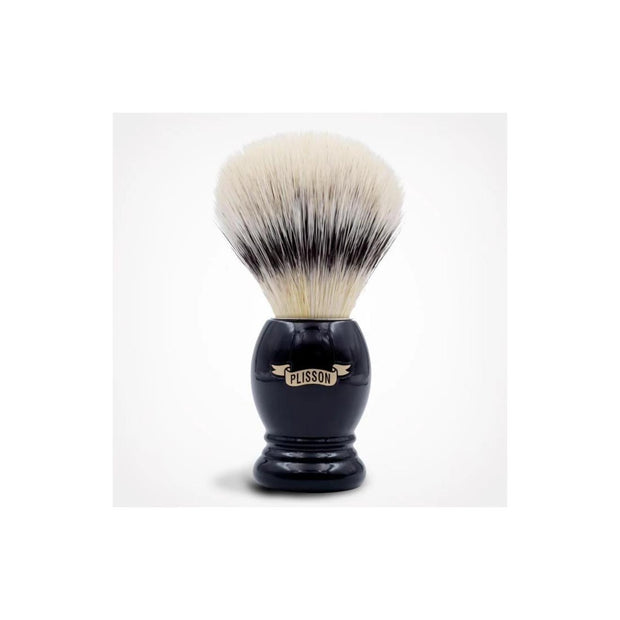 Plisson shaving brush for sensitive skin with black acetate handle