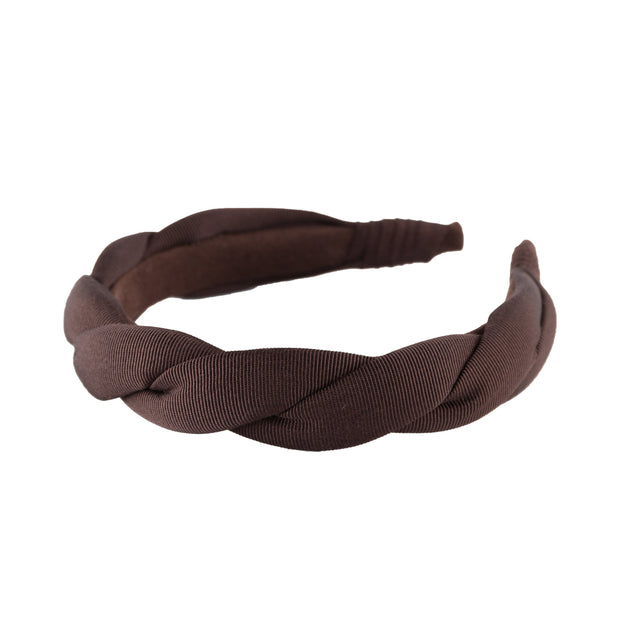 "Grosgrain 1"" wide twist headband by Anna Fashion in dark brown"