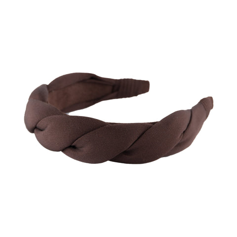 "Grosgrain 1.5"" twist headband by Anna Fashion in dark brown"