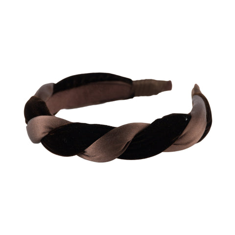 "Anna Fashion Headband 1"" velvet and  satin twist in brown"