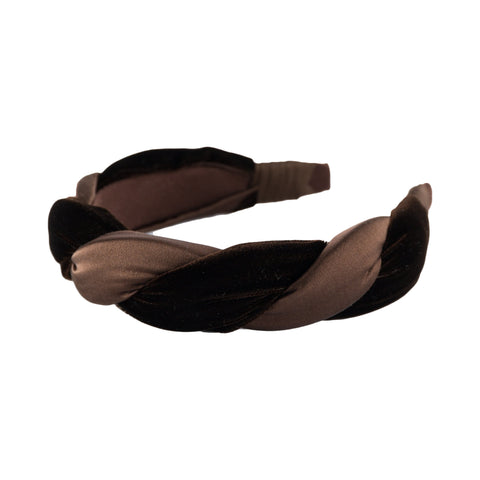 "Anna Fashion Headband 1.5"" velvet and  satin twist in brown"