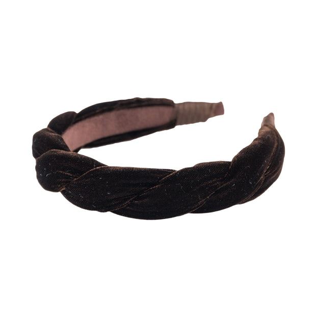 "Anna Fashion Headband 1"" velvet twist in brown"