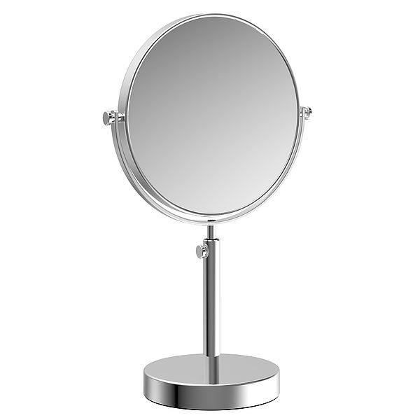 Frasco Double Sided Adjustable Height Pedestal Mirror, 7.5 Inch Diameter with 3X Magnification