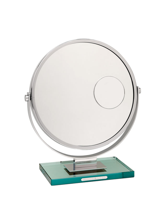 Brot Magnifying Makeup Mirror on a glass base