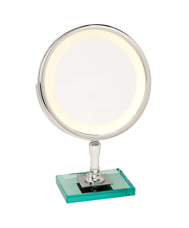 Brot PETITE ELEGANCE C 24, 9 1/2 Inch Diameter Illuminated Mirror on a Glass Base
