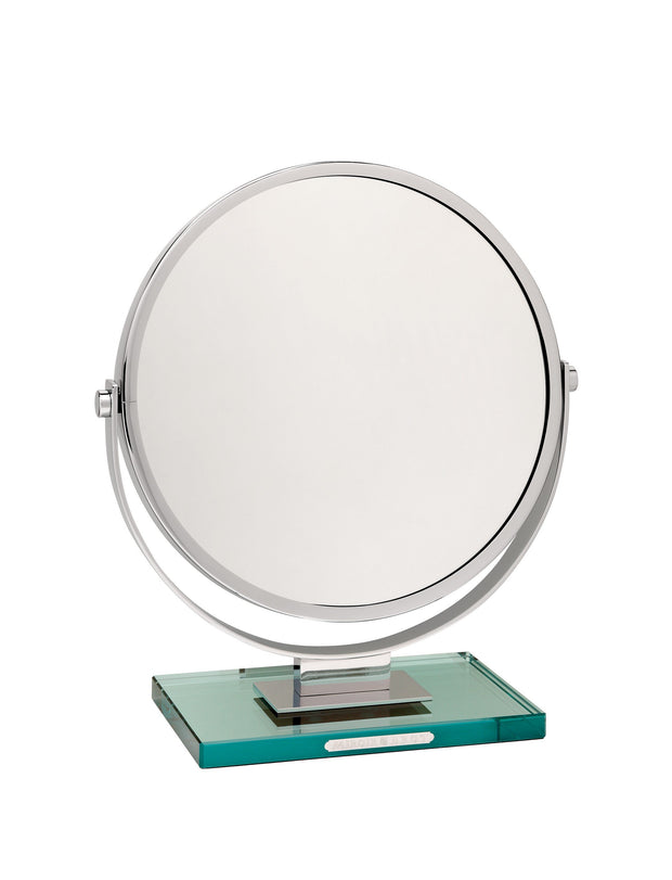 Brot VANITY 33, 13 Inch Diameter Reversible Mirror on a Glass Base