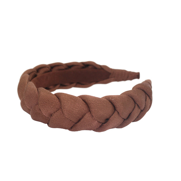 "Anna Fashion grosgrain braid headband 1"" Cafe"