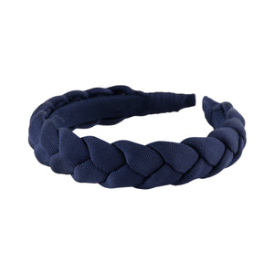 "Navy blue 1"" wide grosgrain braided headband by Anna Fashion"