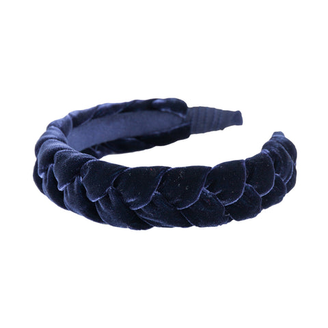 "Anna Fashion Headband 1"" velvet braid in navy"