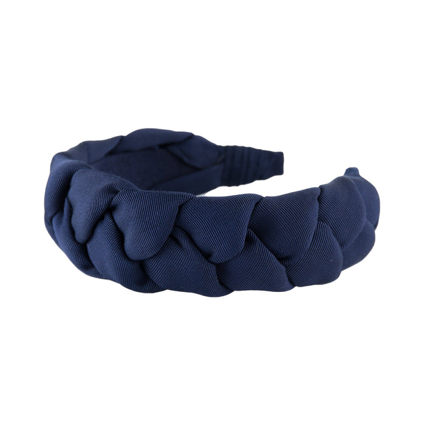 "Braided 1.5"" wide grosgrain headband in Navy blue by Anna Fashion"