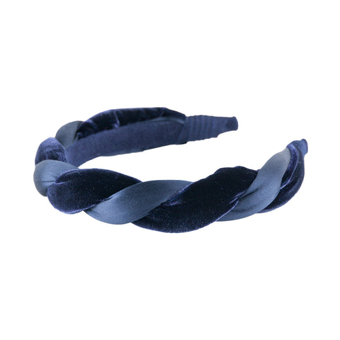 "Anna Fashion Headband 1"" velvet and  satin twist in Navy"