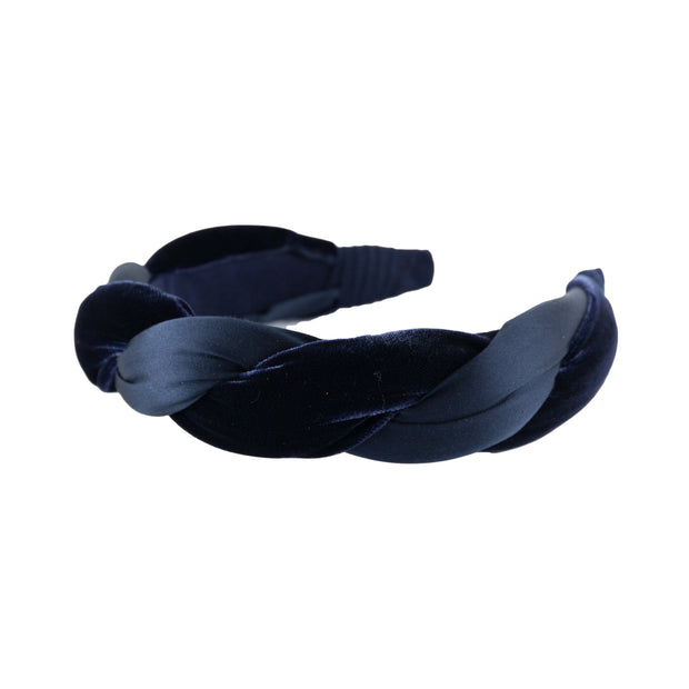 "Anna Fashion Headband 1.5"" velvet and  satin twist in Navy"