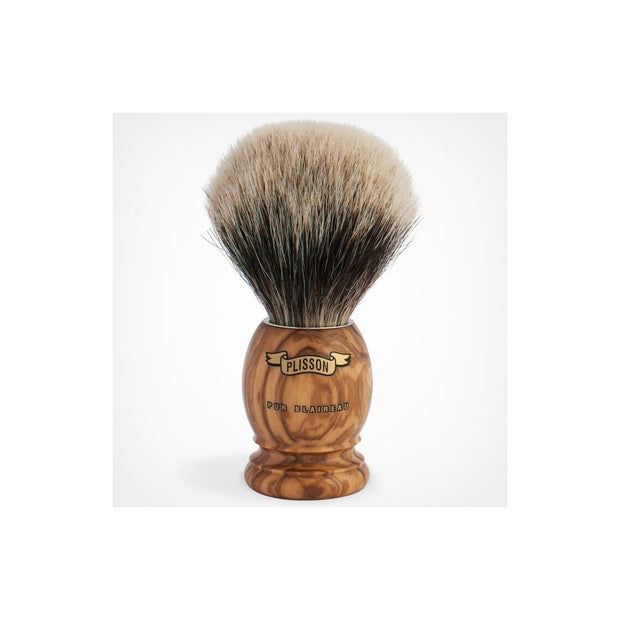 Plisson Olivewood Handle Shaving Brush with White Badger Hair Bristles - Boyd's Madison Avenue