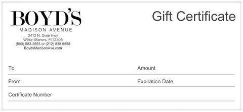 Boyd's Madison Avenue Gift Certificate