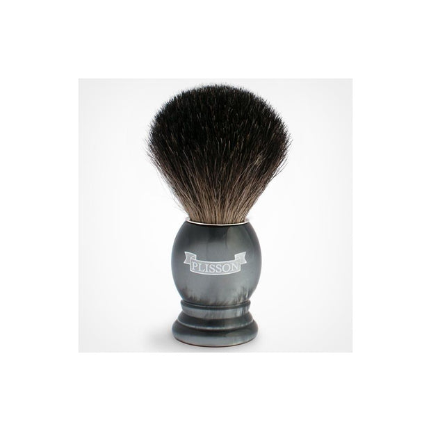 Plisson Gray Pearl Handle Shaving Brush with Genuine White Badger Bristles