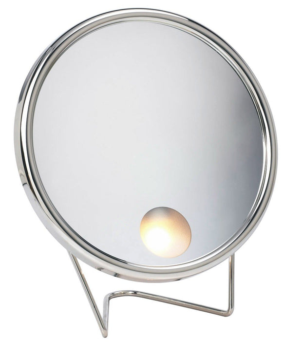 Arpin lighted magnifying mirror in Nickel
