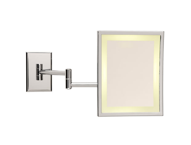 Brot SQUARE Illuminated Double Armed Wall Mounted Mirror, 9 X 7 Inches, 3X Magnification