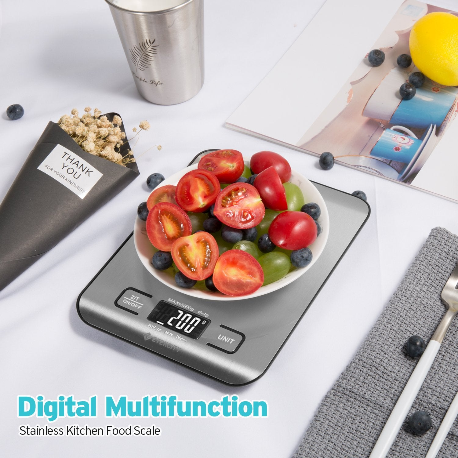 78f0ab552e0b Etekcity Food Digital Kitchen Weight Scale Grams and Ounces   Total ...