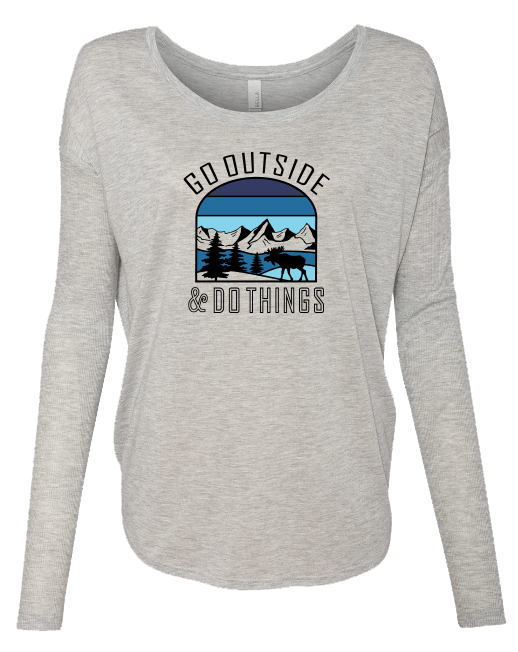 Go Outside Blue - LADIES Ribbed Long Sleeve