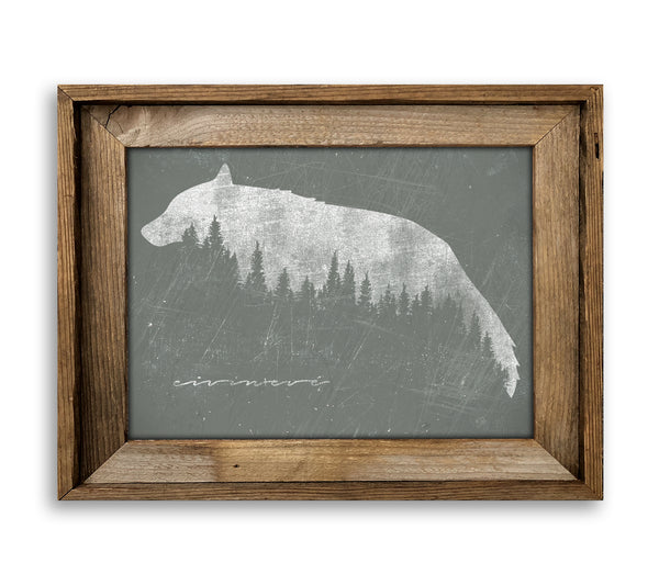 Wolf Barn Wood Framed Mounted Canvas