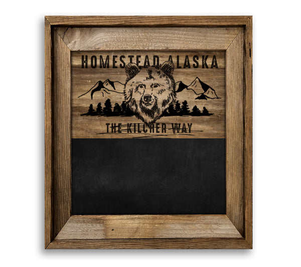 Homestead Alaska Bear and Mountains Barn Wood Framed Chalkboard Combo