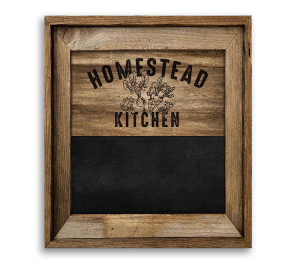 Homestead Kitchen Barn Wood Framed Chalkboard Combo