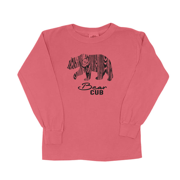 Wood Grain Bear Cub - Youth Long Sleeve