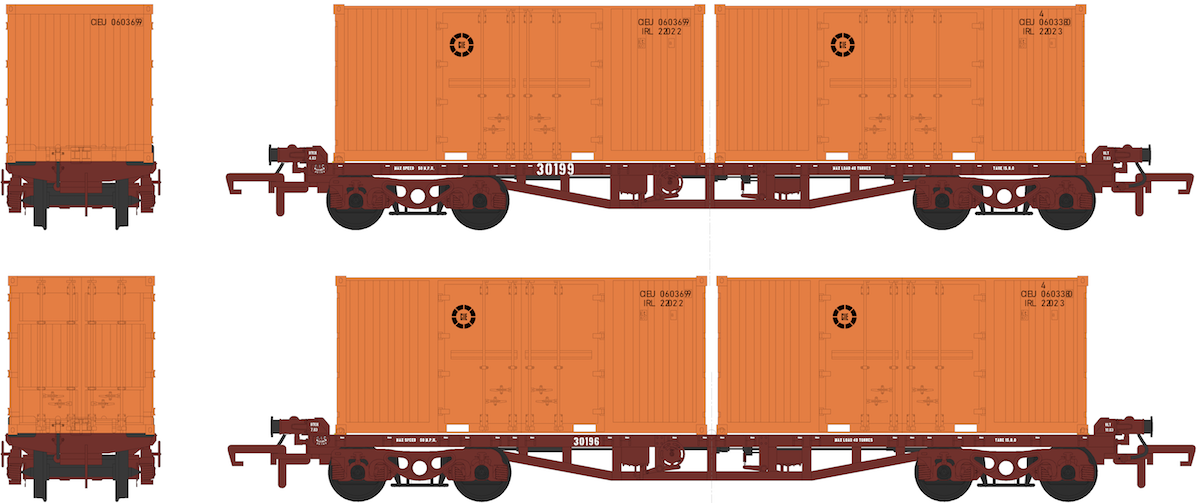 CIÉ/IR 42' Flat - Twin Pack - with 4 CIE 20' Containers