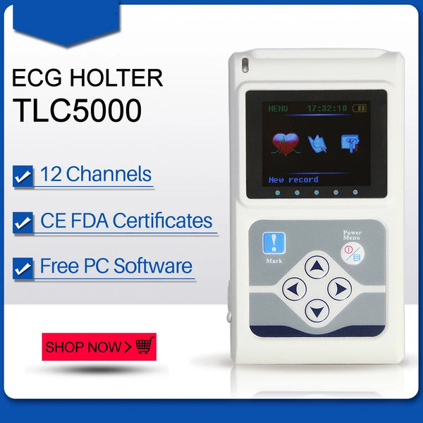 JYTOP TLC5000 ECG Holter 12 Channel 24h EKG Monitor PC Software Analyzer FDA&CE