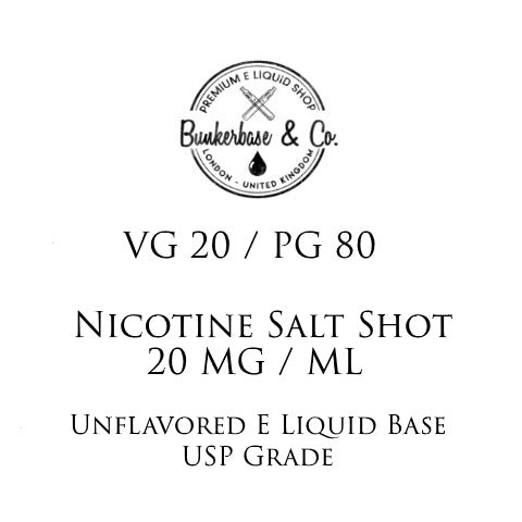 PG 80 / VG 20 Nicotine Salt Shots - 10 x 10ml / 20 mg
