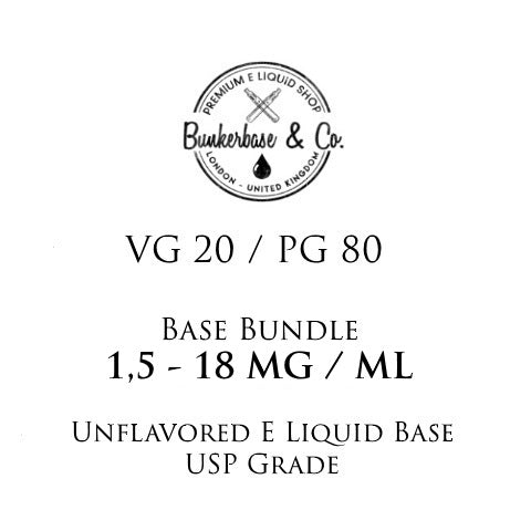 500 - 1000 ml PG 80 / VG 20 Nicotine Base Bundle 3 - 18 MG / ML