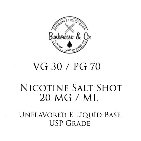 PG 70 / VG 30 Nicotine Salt Shots - 10 x 10ml / 20 mg