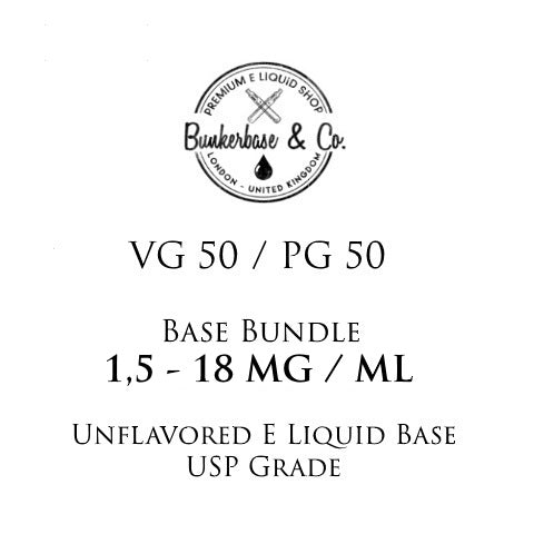 500 - 1000 ml VG 50 / PG 50 Nicotine Base Bundle 3 - 18 MG / ML