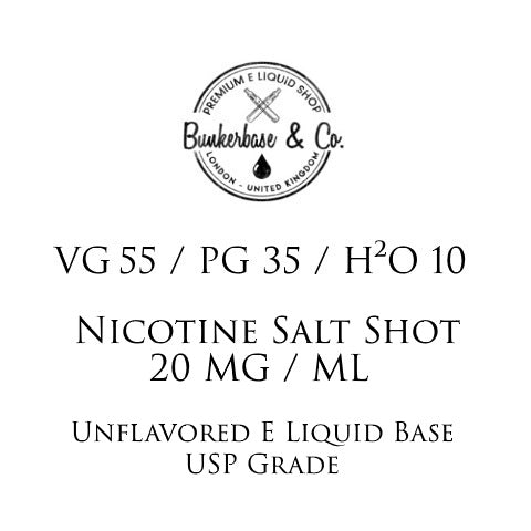 VG 55 / PG 35 / H²O 10 Nicotine Salt Shots - 10 x 10ml / 20 mg