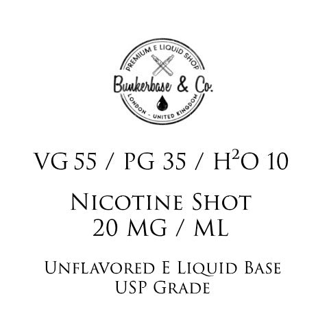 VG 55 / PG 35 / H²O 10 Nicotine Shots - 10 x 10ml / 20 mg