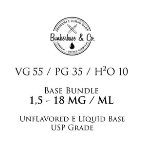 500 - 1000 ml VG 55 / PG 35 / H²O 10 Nicotine Base Bundle 3 - 18 MG / ML