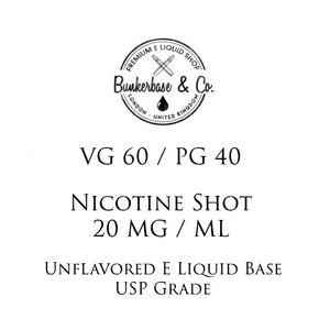 VG 60 / PG 40 Nicotine Shots - 10 x 10ml / 20 mg