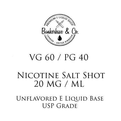 VG 60 / PG 40 Nicotine Salt Shots - 10 x 10ml / 20 mg