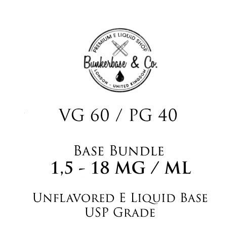 500 - 1000 ml VG 60 / PG 40 Nicotine Base Bundle 3 - 12 MG / ML