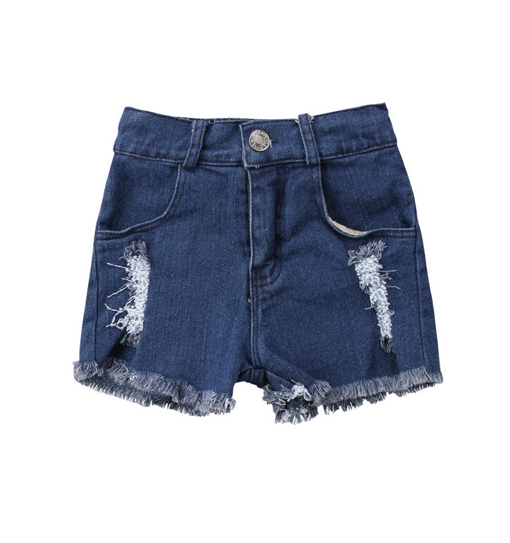 9a0fd28249005 Blue Summer Newborn Girls Holes Denim Jeans Ripped Bottoms Shorts Kids Girl  Loose Black Pants Outfits Clothes 0-5Y