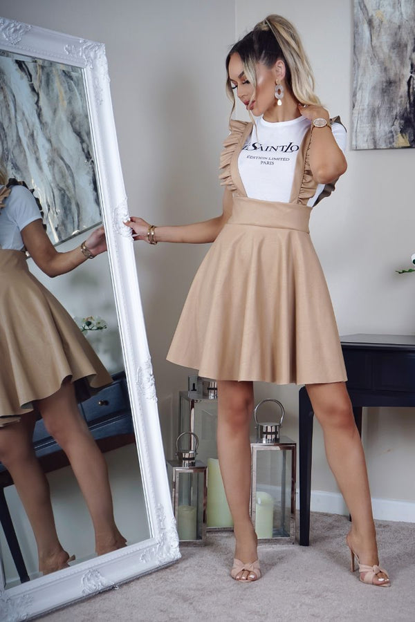 BEIGE PU FRILL DETAIL PINAFORE