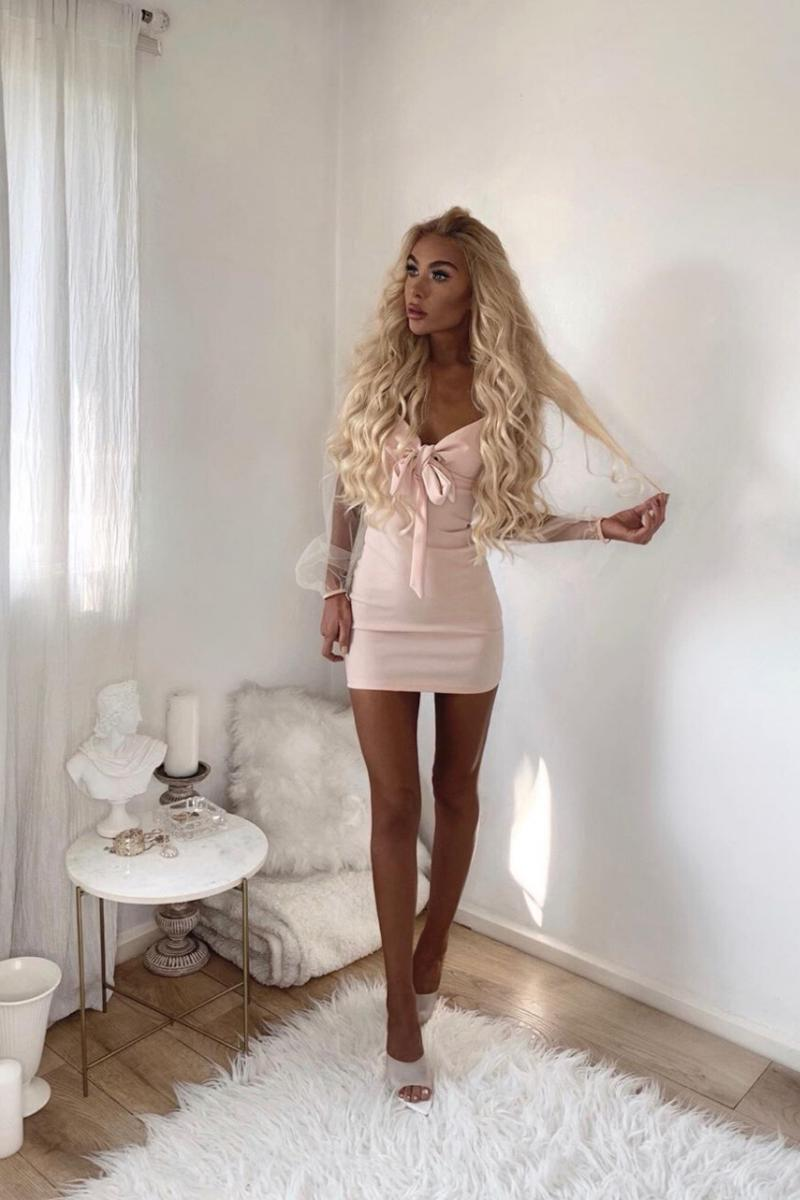 NUDE TIE UP DETAIL LONG SHEER SLEEVE BODYCON MINI DRESS